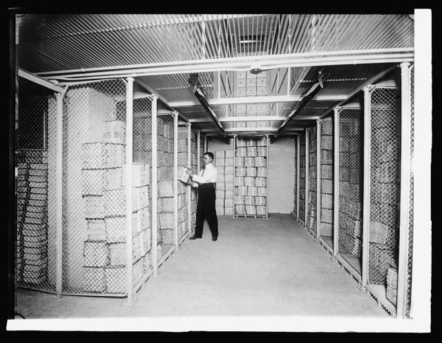 Bureau Printing & Eng.: Section of postage stamp vault: 1,500,000,000 stamps stored here, [1914]