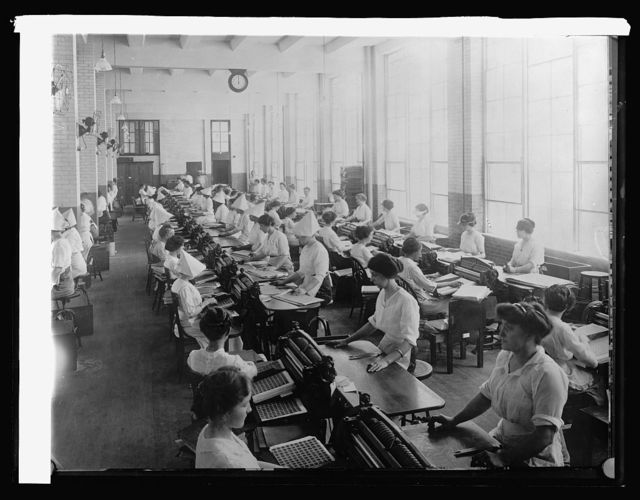 Bureau Ptg. & Eng. machines perforating postage stamps; 146 machines, capacity 105,000 sheets a day, [1914]