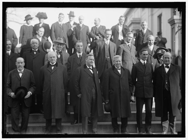 CALIFORNIANS AT WHITE HOUSE: FRONT ROW: SEC. HOUSTON, LEFT IN 4908 ONLY; SEN. PERKINS; SEN. WORK; SEC. DANIELS; SEC. WILSON; SEC. McADOO; SEC. BRYAN. 2ND ROW: REPS. BAKER; STEPHENS; KAHN; CURRY; ASST SEC. OF NAVY F.D. ROOSEVELT; REP. KENT; COMMR. CAMINETTI. 3RD ROW: REPS. HAYES; KNOWLAND. TOP ROW: REPS.