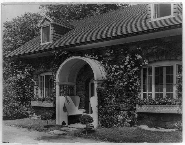 "[""Chelmsford,"" Elon Huntington Hooker house, Greenwich, Connecticut. Guest house entrance]"