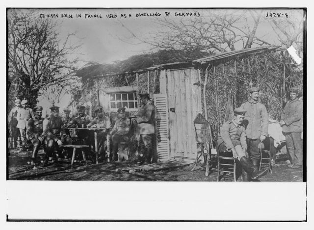 Chicken house in France used as a dwelling by Germans