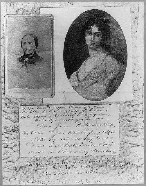 [Composite photo of a photo of Frances K. Allan and a halftone reproduction of a painting of Rosalie Poe, Edgar Allan Poe's foster mother and sister]