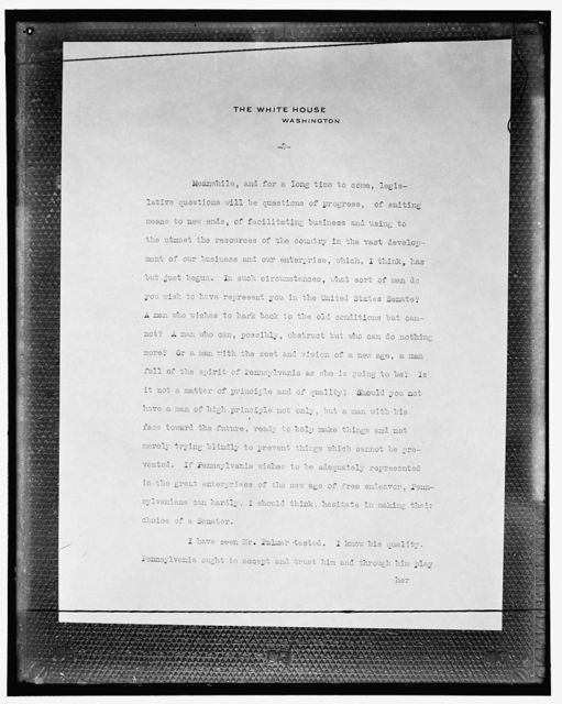 [Copy of letter on White House stationery, October 20, 1914]