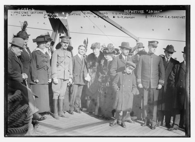 Departure of JASON:  Mrs. Chas. Saltzman, Mrs. Lawton, Major Lawton, C.O. Laughlin, Mrs. L. Wood, Mrs. W. Draper, G. McAneny, G.R. Adamson, Lt. Com. C.E. Courtney