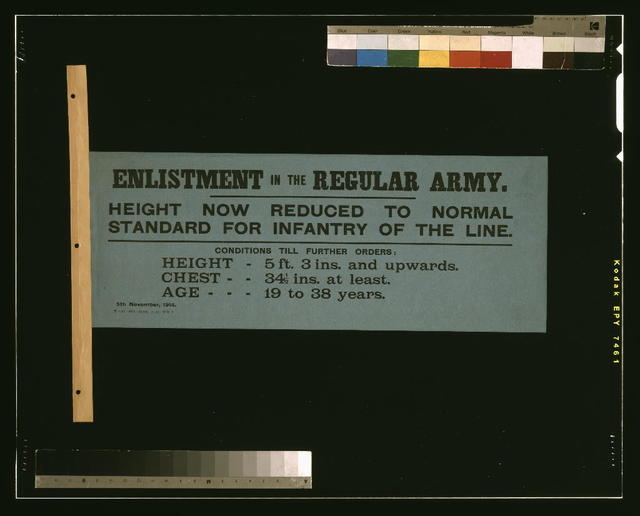 Enlistment in the regular army. Height now reduced to normal standard for infantry of the line.