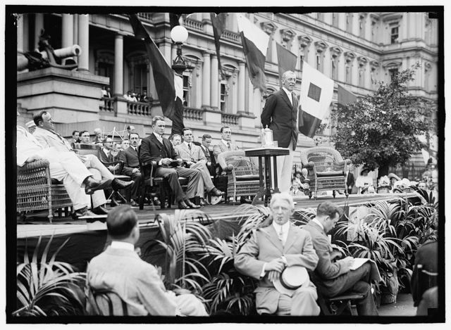 Flag Day. Flag Day exercises, State, War, and Navy Building. Wilson speaking; Bryan, Daniels, [Breckinridge Long], William Phillips, F.D. Roosevelt, etc. present
