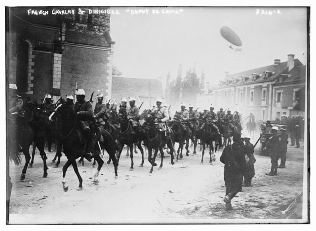 French Cavalry & Dirigible DUPUY DE LOME