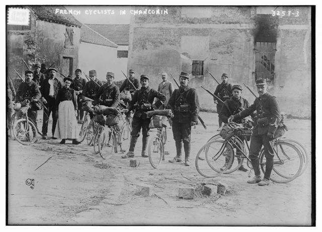 French Cyclists in Chanconin [i.e., Chauconin-Neufmontiers]