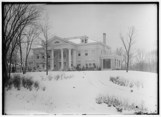 [Front view of Hawthorn Hill in winter; Dayton, Ohio]
