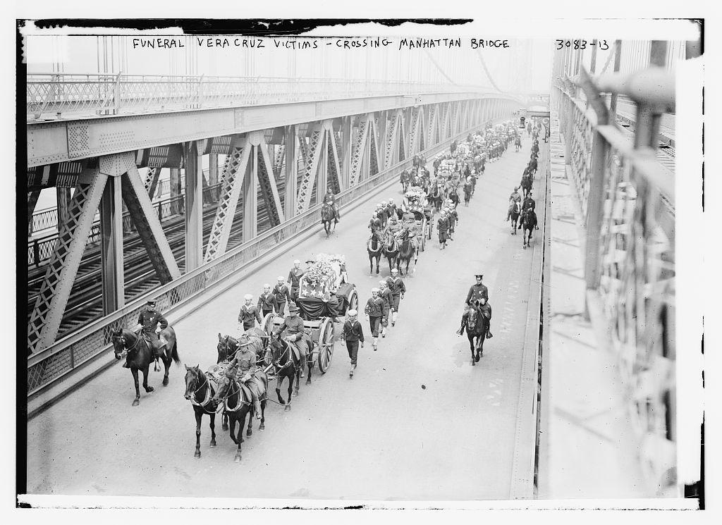 Funeral -- Vera Cruz victims--crossing Manhattan Bridge