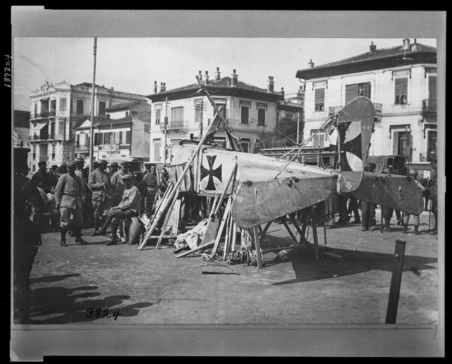 German air-plane displayed to the crowd at Salonika