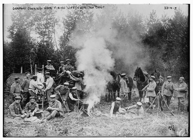 Germans cooking near firing line, North Sea Coast