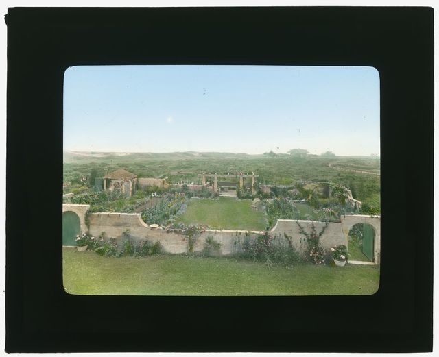 """[""""Gray Gardens,"""" Robert Carmer Hill house, Lily Pond Lane, East Hampton, New York. View from house]"""