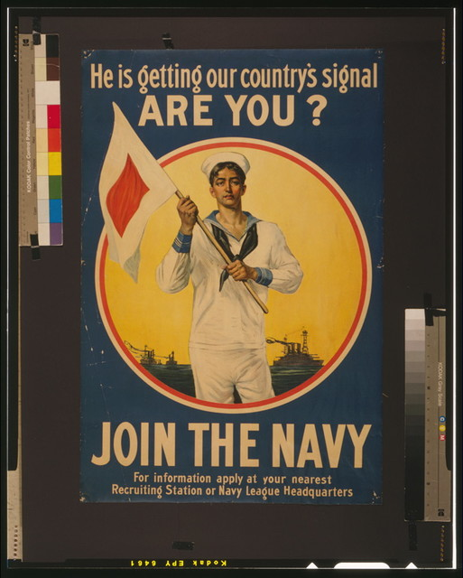 He is getting our country's signal - are you? Join the Navy.