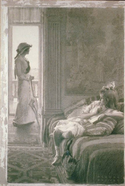 Jane Hyde looked about her, but did not see the flaxen head propped among the pillows in the corner / Herman Pfeifer.