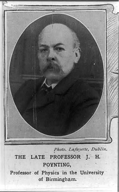 "[J.H. Poynting ""Professor of Physics in the Univ. of Birmingham"", bust portrait, facing left]"