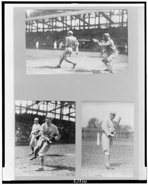 [Lawrence Joseph Doyle, baseball player for New York NL, full-length, facing left, swinging bat; full-length, facing left, throwing ball; and full-length, standing, facing front, holding bat]