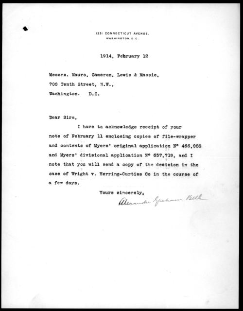Letter from Alexander Graham Bell to Mauro, Cameron, Lewis & Massie, February 12, 1914