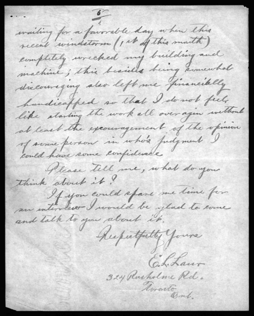 Letter from E. L. Laur to Alexander Graham Bell, March 9, 1914