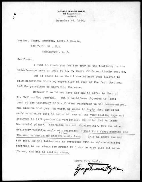 Letter from George F. Myers to Mauro, Cameron, Lewis & Massie, December 28, 1914