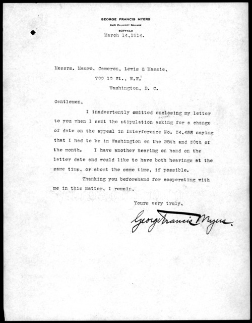 Letter from George F. Myers to Mauro, Cameron, Lewis & Massie, March 14, 1914