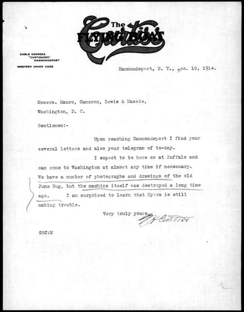Letter from Glenn H. Curtiss to Mauro, Cameron, Lewis & Massie, December 10, 1914