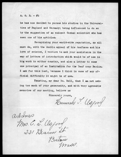 Letter from Hannah J. Osgood to Alexander Graham Bell, March 3, 1914
