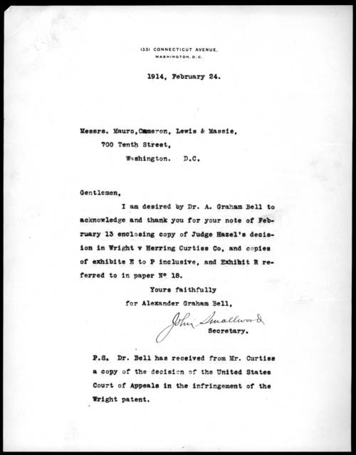 Letter from John Smallwood to Mauro, Cameron, Lewis & Massie, February 24, 1914