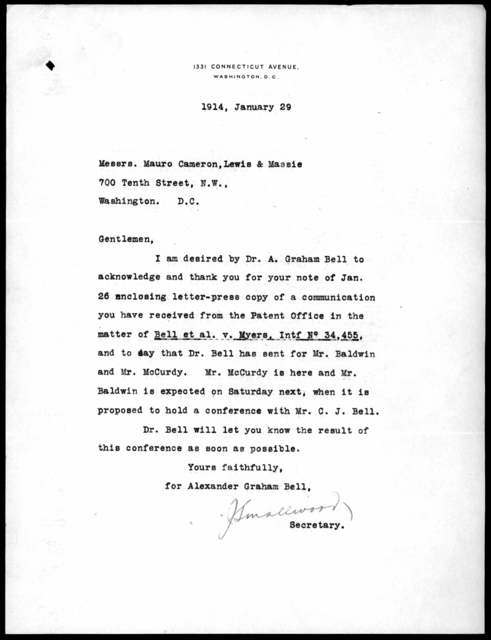 Letter from John Smallwood to Mauro, Cameron, Lewis & Massie, January 29, 1914