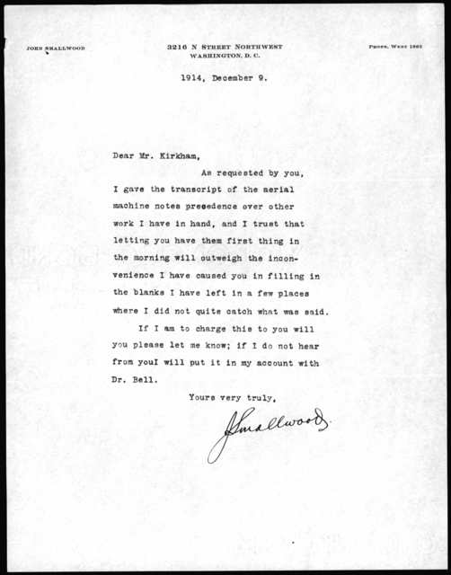Letter from John Smallwood to Mr. Kirkham, December 9, 1914