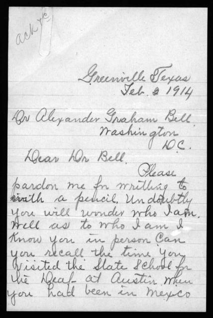 Letter from Maude T. Jones to Alexander Graham Bell, February 2, 1914