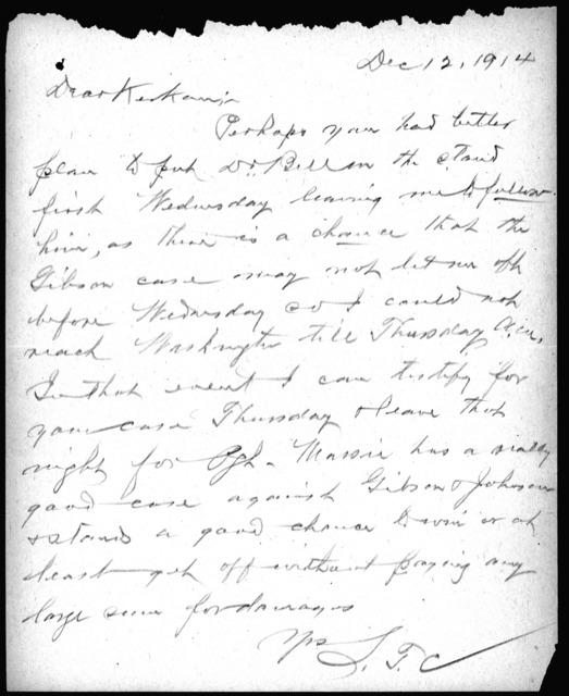 Letter from S. T. Cameron, December 12, 1914