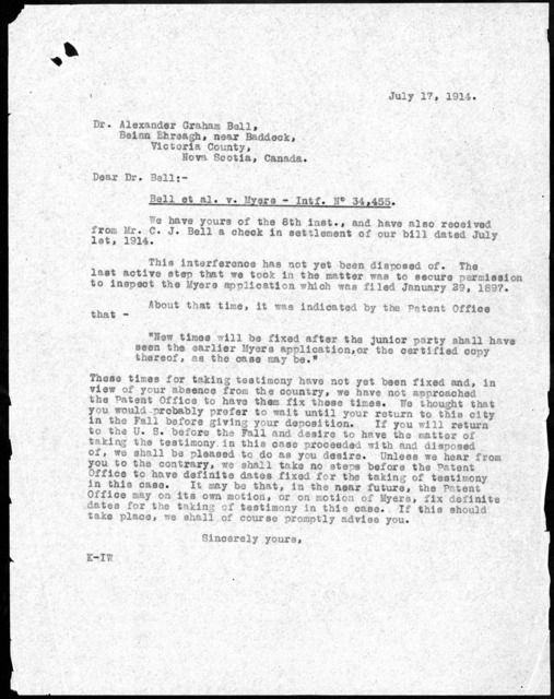 Letter to Alexander Graham Bell, July 17, 1914