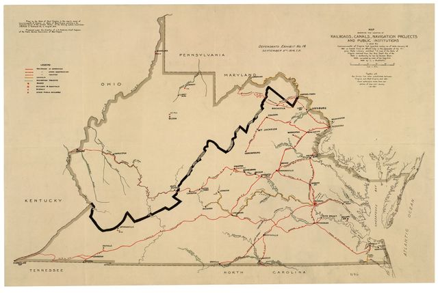 """Map showing the location of railroads, canals, navigation projects and public institutions in which the Commonwealth of Virginia had invested money as of date January 1st. 1861 : as traced from an official map in the possession of the Virginia State Library entittled [sic] """"A map of the State of Virginia reduced from the Nine Sheet Map of the State in conformity to law by Herman Boye, 1828, corrected by order of the Executive 1859 by L.v. Buckholtz"""" : together with the division line later established between Virginia and West Virginia and additional extensions made from completion of map until January 1st, 1861."""