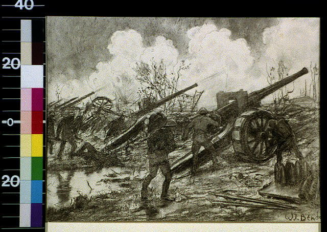 [Men with cannon on battlefield]