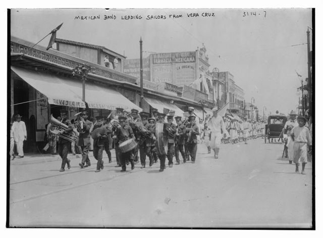 Mexican band leading sailors from Vera Cruz