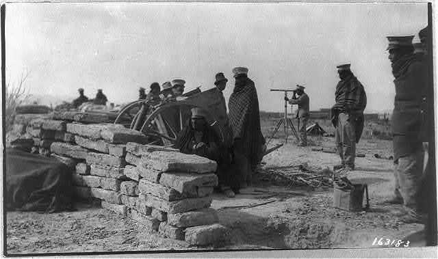 [Mexican War, 1914: Gen. Salazar behind stone wall]