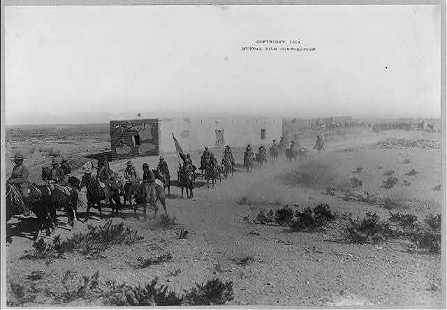 [Mexican War scenes, 1914: column of mounted rebels]