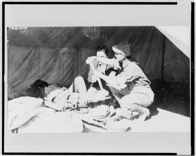 Mexico - Presidio, Texas--Dr. Braden in charge of army Red Cross, dressing wounds of Mexican soldier who had all his toes shot off - Mexican War