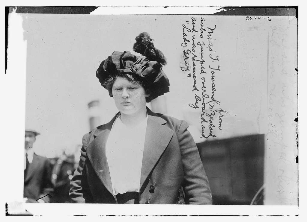 Miss T. Towsend from N. Zealand who jumped overboard and was rescued by LADY GREY