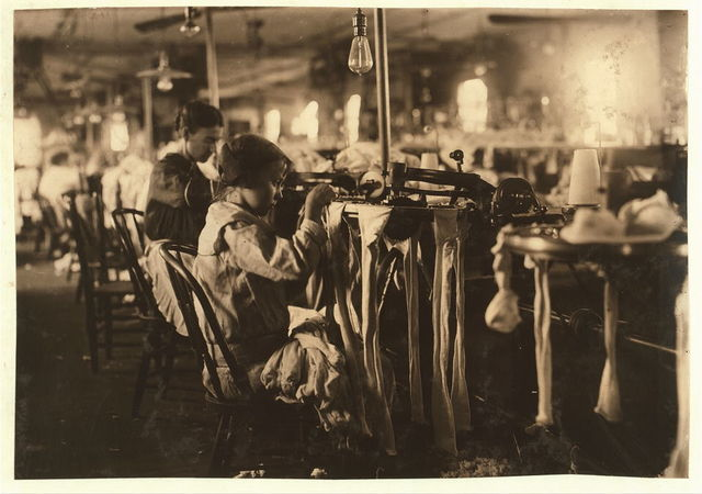 """[Nannie Coleson, looper who said she was 11 years old, and has been working in the Crescent Hosiery Mill for some months. Makes about $3 a week. Has been through the 5th grade in school. She is bright, but unsophisticated. Told investigator, """"There are other little girls in the mill too. One of them, says she's 13, but she doesn't look any older than me.""""].  Location: [Scotland Neck, North Carolina]"""