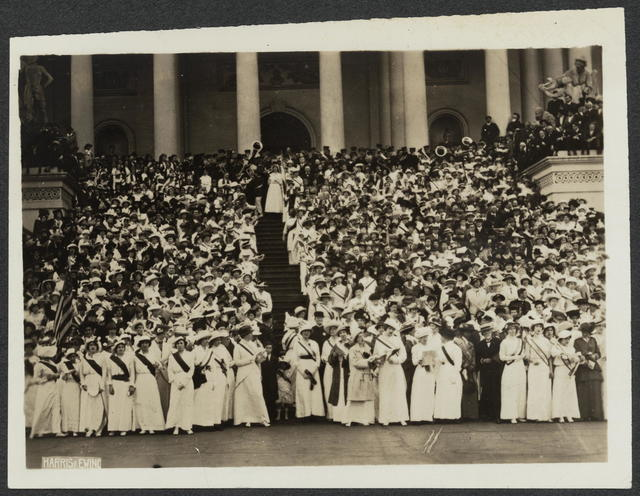 Nation-wide demonstrations were held on May 2nd in support of Federal Amendment. Envoys from these demonstrations brought petitions to Washington on May 9th and carried them in procession to Congress from Lafayette Square. Five thousand women massed on and about the East Steps of the Capitol singing Ethel Smyth's Hymn of the Women before entering the Rotunda to deliver the petitions.