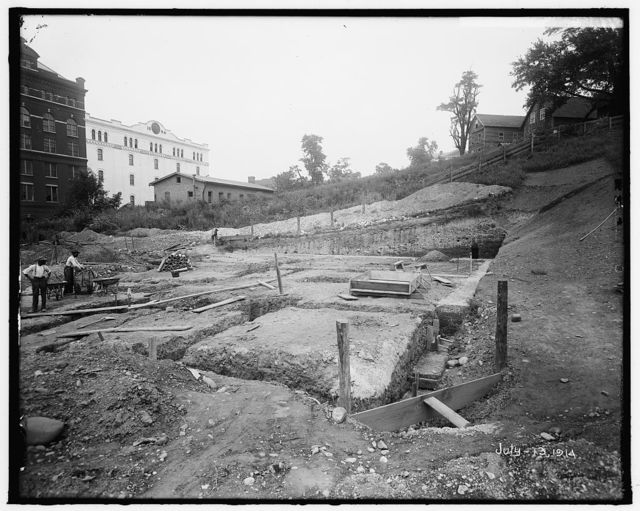 NAVAL HOSPITAL. LAYING FOUNDATION