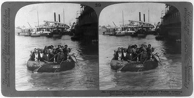 Navigation at Bagdad - kufas, [round boats], meeting European steamer