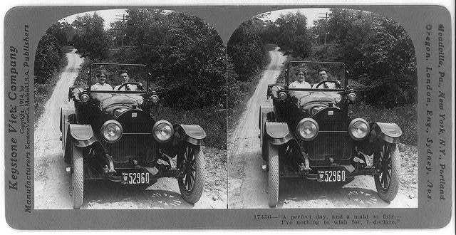 [Picture story in 4 stereoscopic frames: boy & girl driving in country in 1914 Buick roadster]