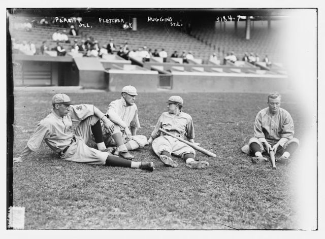 [Pol Perritt (St. Louis NL), Art Fletcher (New York), Miller Huggins and Lee Magee, (St. Louis NL)