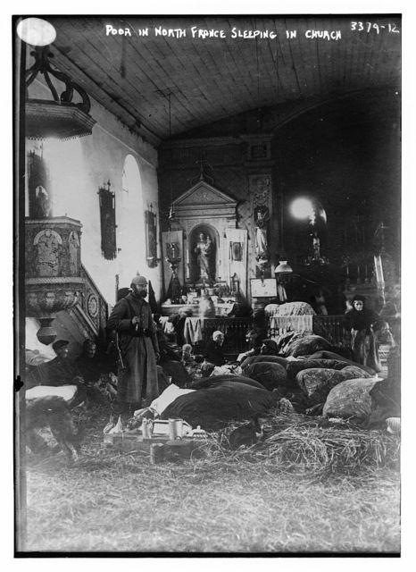 Poor in North France sleeping in church