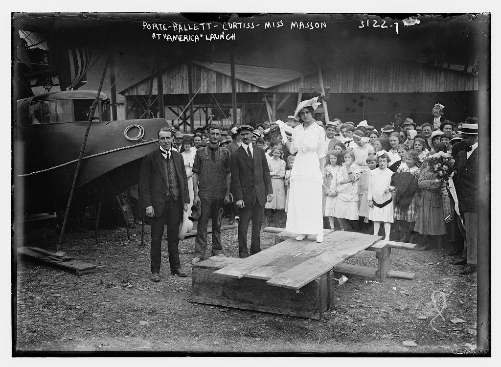 "Porte -- Hallett -- Curtiss -- Miss Masson -- at ""America"" launch"