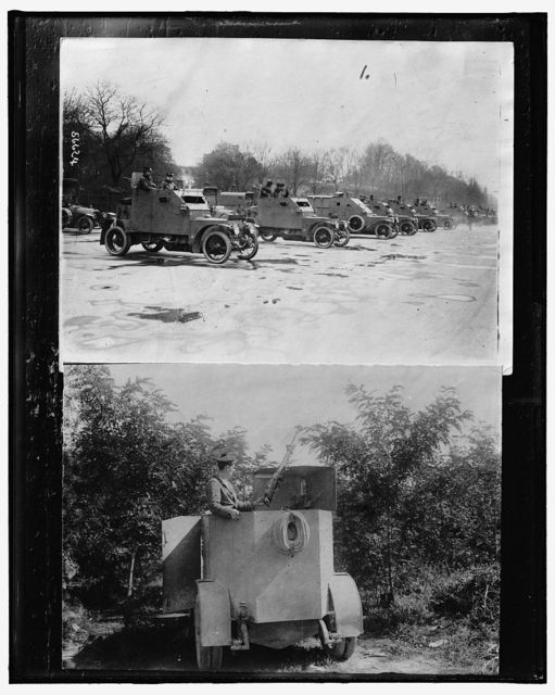 [Row of armored cars ; Soldier with weapon in armored car]