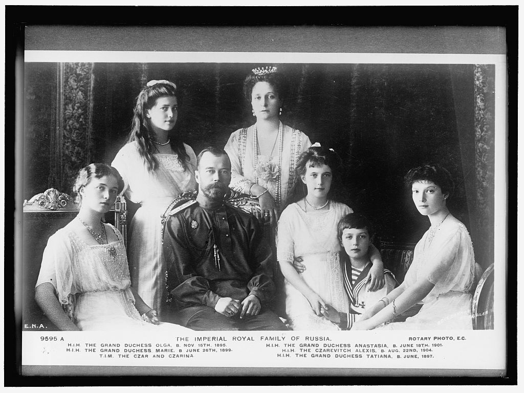 RUSSIAN ROYAL FAMILY. THE IMPERIAL FAMILY. SEATED: THE GRAND DUCHESS OLGA; THE CZAR; THEGRAND DUCHESS ANASTASIA; THE CZAREVITCH ALEXIS; THE GRAND DUCHESS TATIANA. STANDING: THE GRAND DUCHESS MARIE; THE CZARINA